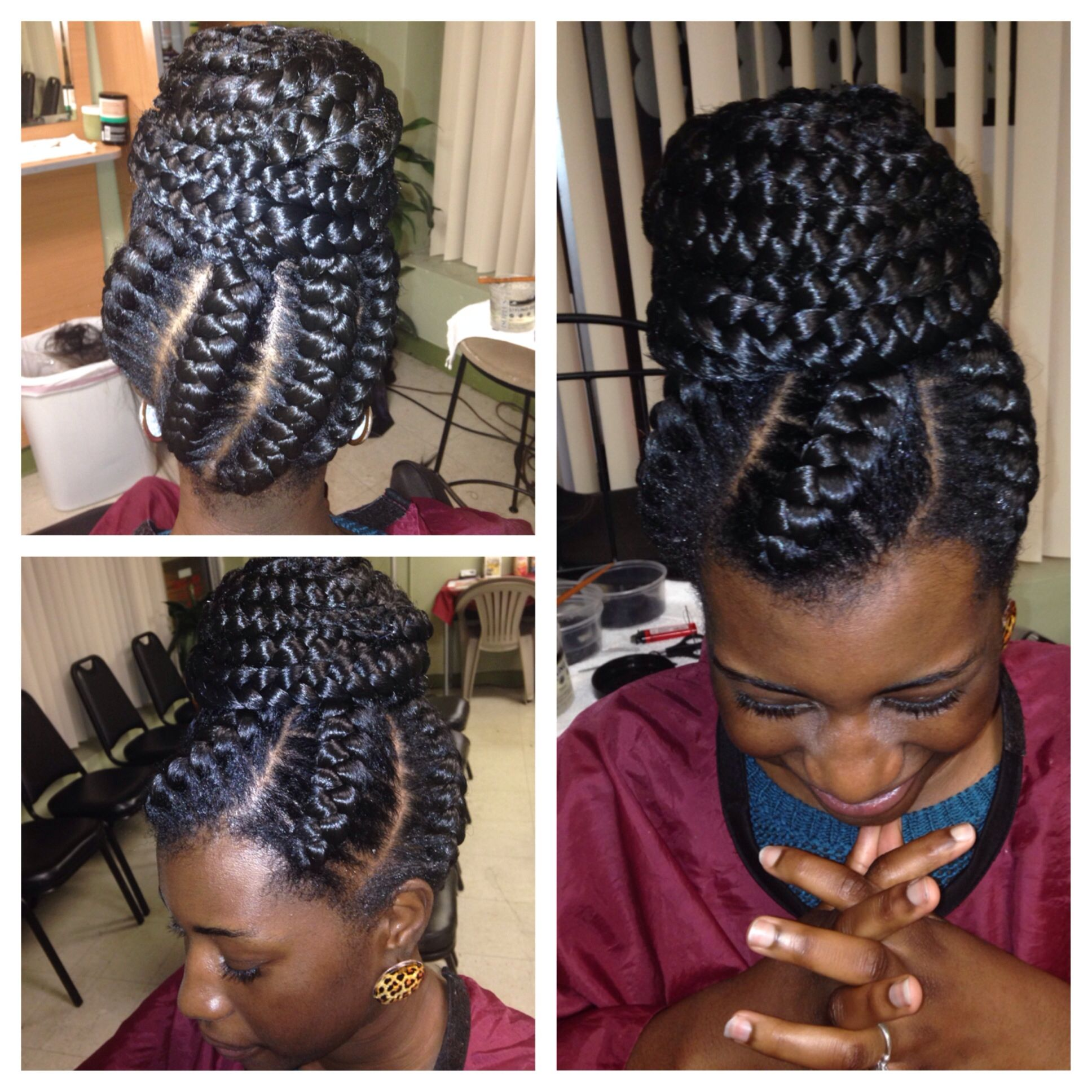 big cornrow braids in a buns styles | protective hairstyles