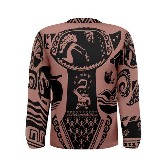 Men 39 s maui moana inspired long sleeve shirt costume for Maui shirt tattoo