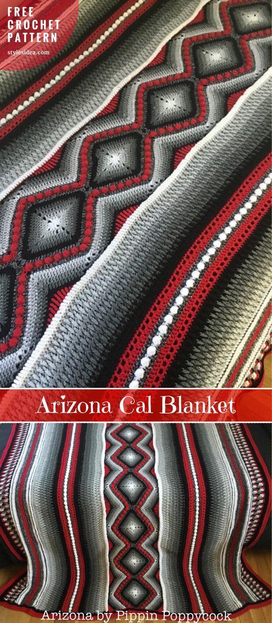 Arizona Cal Blanket Free Crochet Pattern | Pinterest | Decken, Decke ...