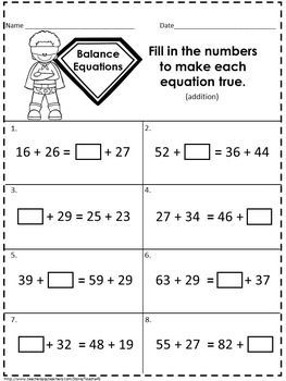 Balancing Equations - Addition and Subtraction | 2nd Grade ...