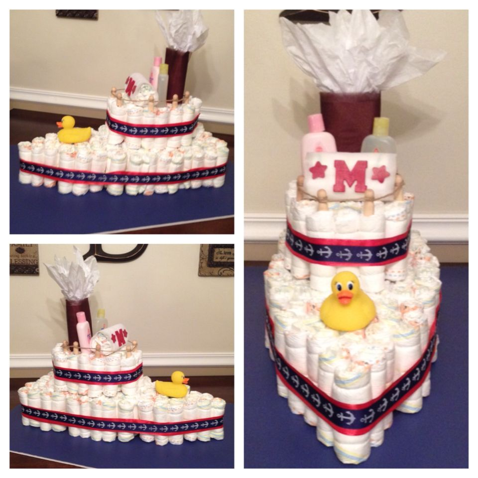 Quot Ahoy It S A Boy Quot Ship Diaper Cake Made With 120 Diapers