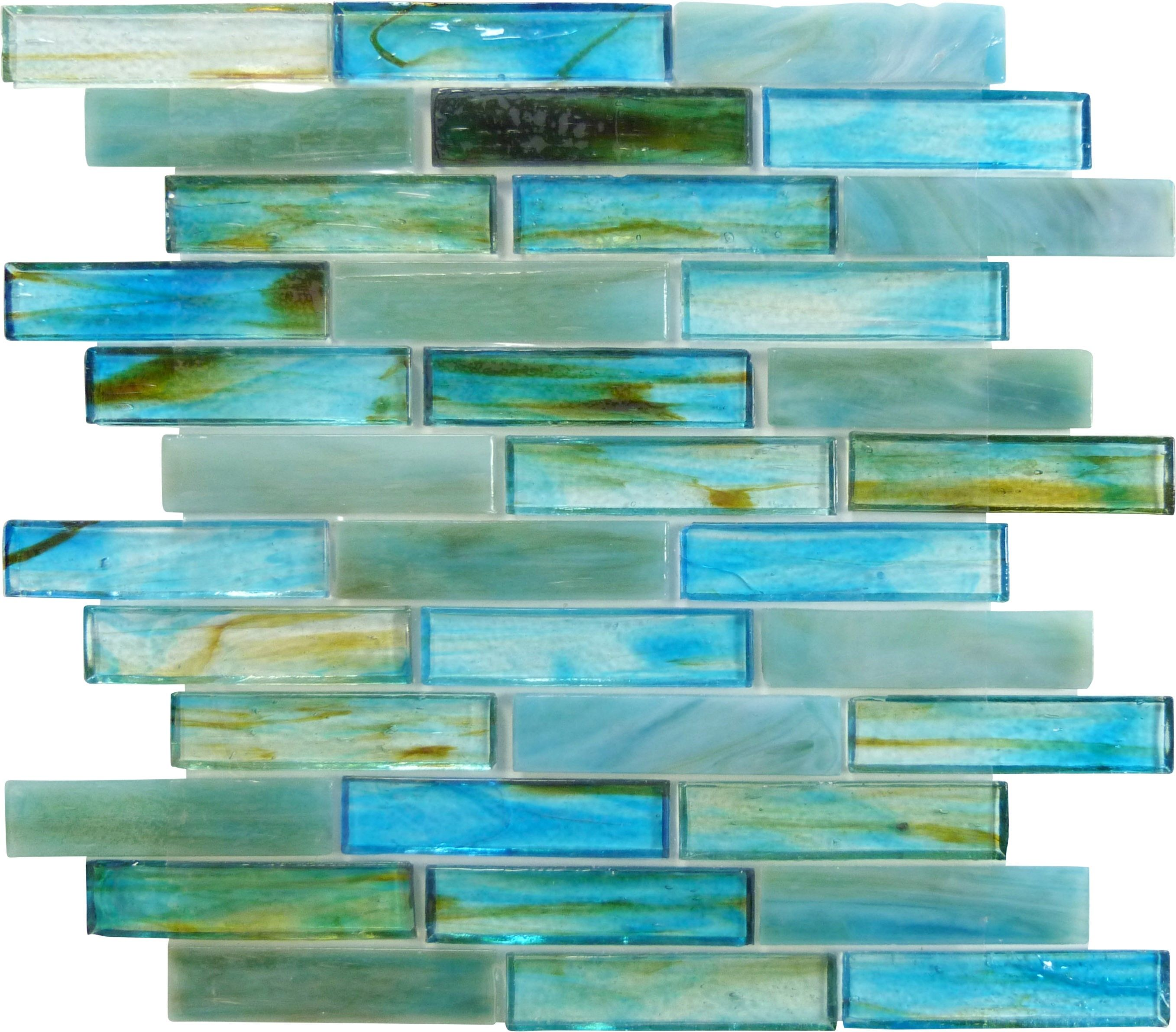This 1 X 4 Green And Turquoise Glass Tile Replicates The Classic Brick Wall Layout Forming An Appealing Co Sea Glass Tile Turquoise Glass Tiles Glass Tile