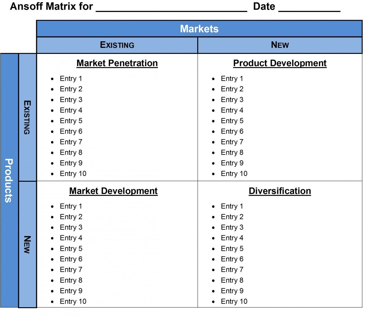 Ansoff Matrix Template Word     Ansoff Matrix Tool
