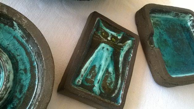 Deko-Objekte - Getöpfertes 4-tlg. Set tolle türkisblaue Glasur - ein Designerstück von Grossmutters_Lieblinge bei DaWanda