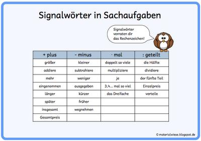 materialwiese: Sachaufgaben Schritt für Schritt Signalwörter ...