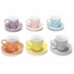 Servizio di 6 tazze tazzine ceramica piattino caffè fiori