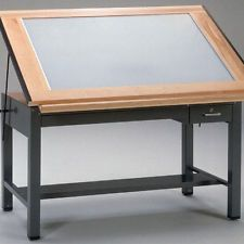 LIGHTED DRAFTING TABLE Light Desk Drawing Board With Lightbox Lighting  Drawers