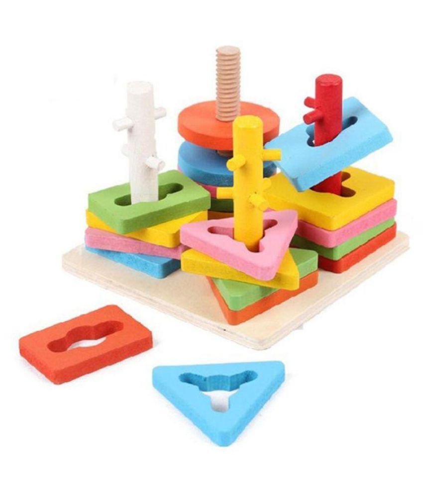 Wooden Blocks Geometric Shape Matching Four Sets of Column