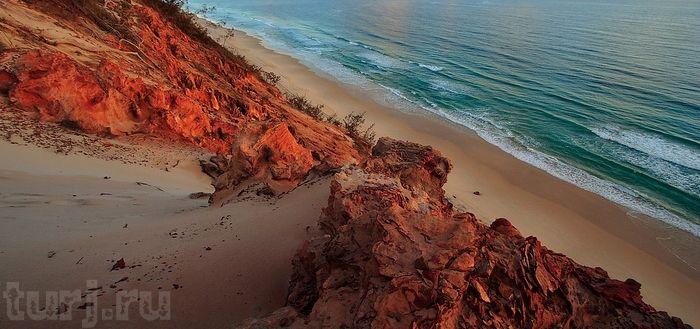 Австралия, остров Фрейзер, Fraser Island, Rainbow beach, цветной песок, Австралия достопримечательности, самые необычные пляжи мира, цветные...