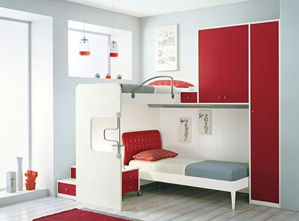 White Grey Red Bedroom Furniture Home Deco Small
