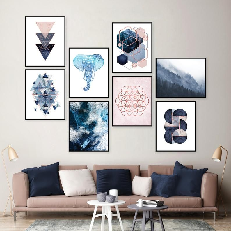 Gallery Wall Set Of 8 Downloadable Prints Blush Pink Navy Etsy Dining Room Wall Art Gallery Wall Wall Decor Bedroom Living room wall art gallery