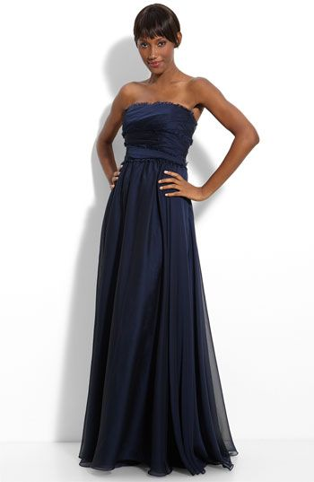 Monique Lhuillier Bridesmaids Strapless Chiffon Gown
