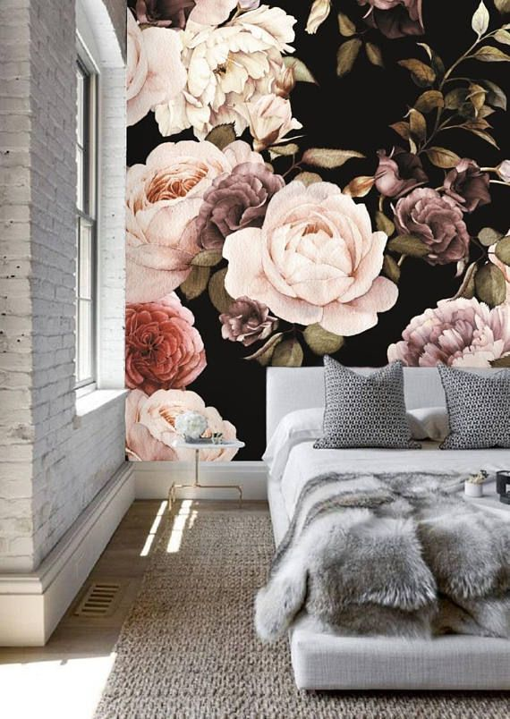 Peel And Stick Floral Wallpaper Mural Black Floral Wallpaper Large Floral Mural Dark Floral Wallpaper Nursery Vintage Rose Wallpaper 85 Black Floral Wallpaper Large Floral Wallpaper Floral Wallpaper Nursery