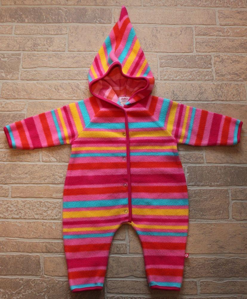 14938944aeb9 Zutano Pink Striped Cotton Fleece Snowsuit Bunting Baby Girl 12 ...