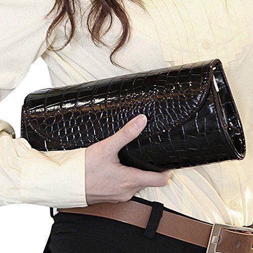 ILISHOP On Sale Women's Envelope Clutch Patent Croc Skin Party Clutch Fashion Shoulder Bags For Lady (Black)-http://womenbags.atbestprices.info/ilishopparty