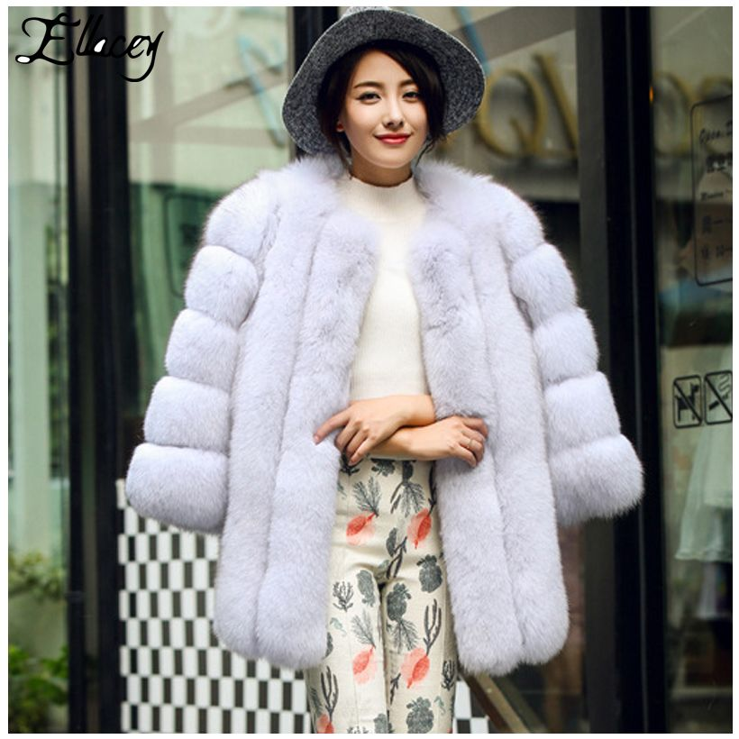 2e2f87a97 Luxury High Imitation Fox Fur Coat Thick Warm Elegant Nobal Lady Artificial  Fur Women Coat Of Faux Fur Female Plus Size