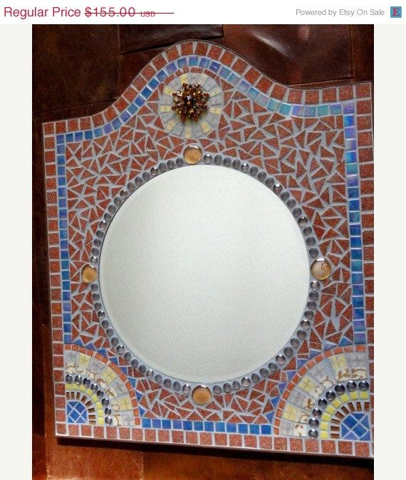 Barcelona Mosaic Mirror in Cinnamon Brown with Blue Iridescent Accents #crafts #home_decor $139.50
