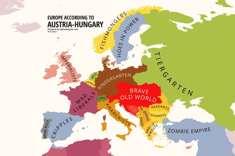 Europe according to austria hungary part of alphadesigners mapping europe according to austria hungary part of alphadesigners mapping stereotypes project gumiabroncs Choice Image