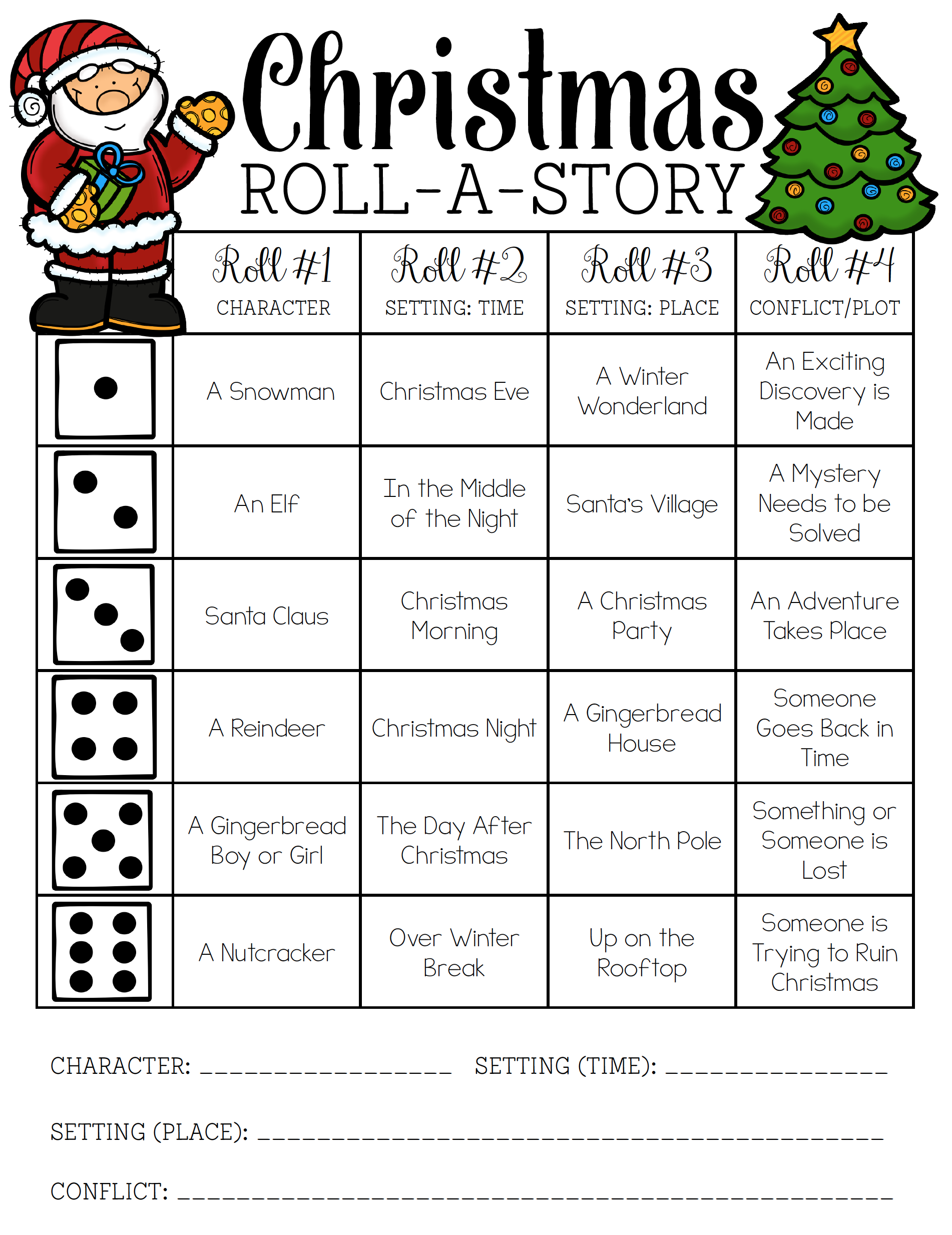 Christmas RollaStory Christmas writing, Roll a story