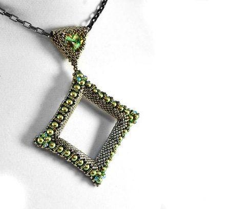 Mau Pendant Beading Kit Silver Green Bead kits Beads and Pendants
