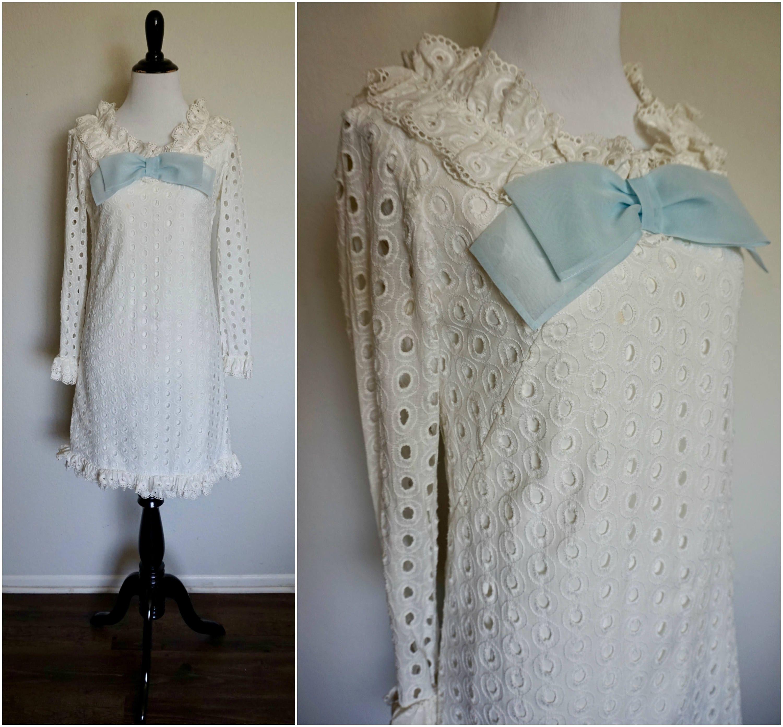 Eyelet wedding dress  Something Blue Dress s Vintage White Eyelet Lace Mini  s