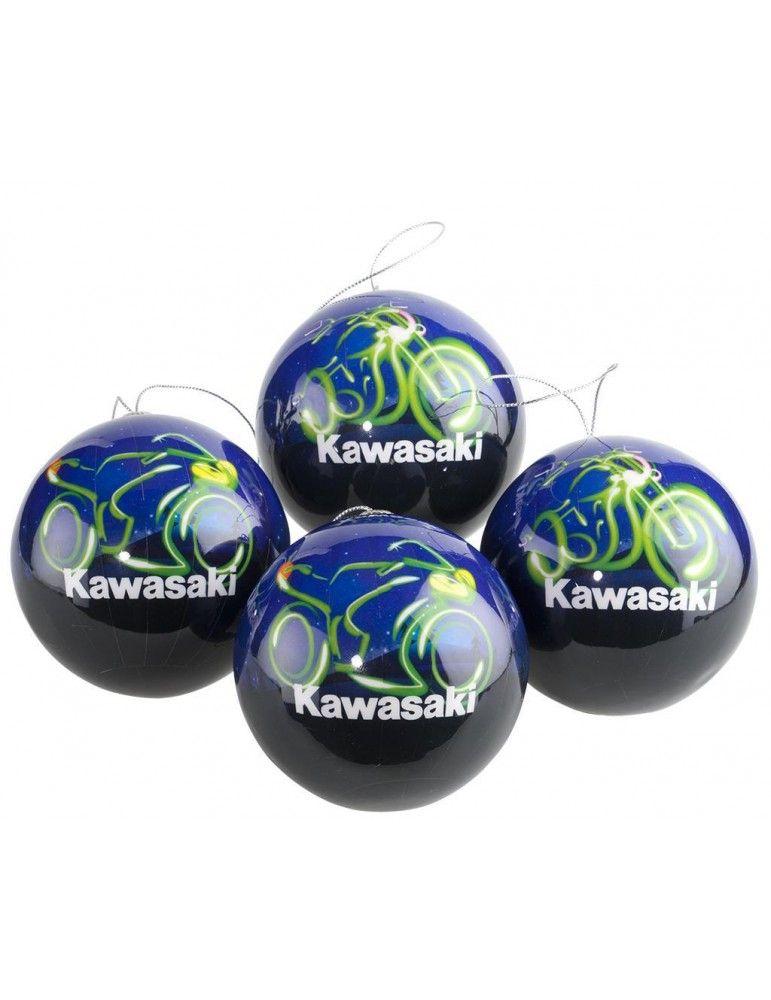 4 Boules de Noël KAWASAKI 8 cm de diamètre.Votre sapin aura du