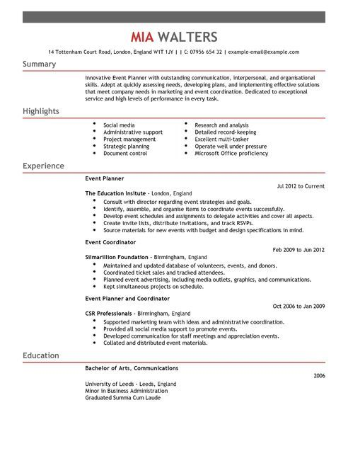 Event Planner Cv Template  Marketing Cv Examples  Livecareer
