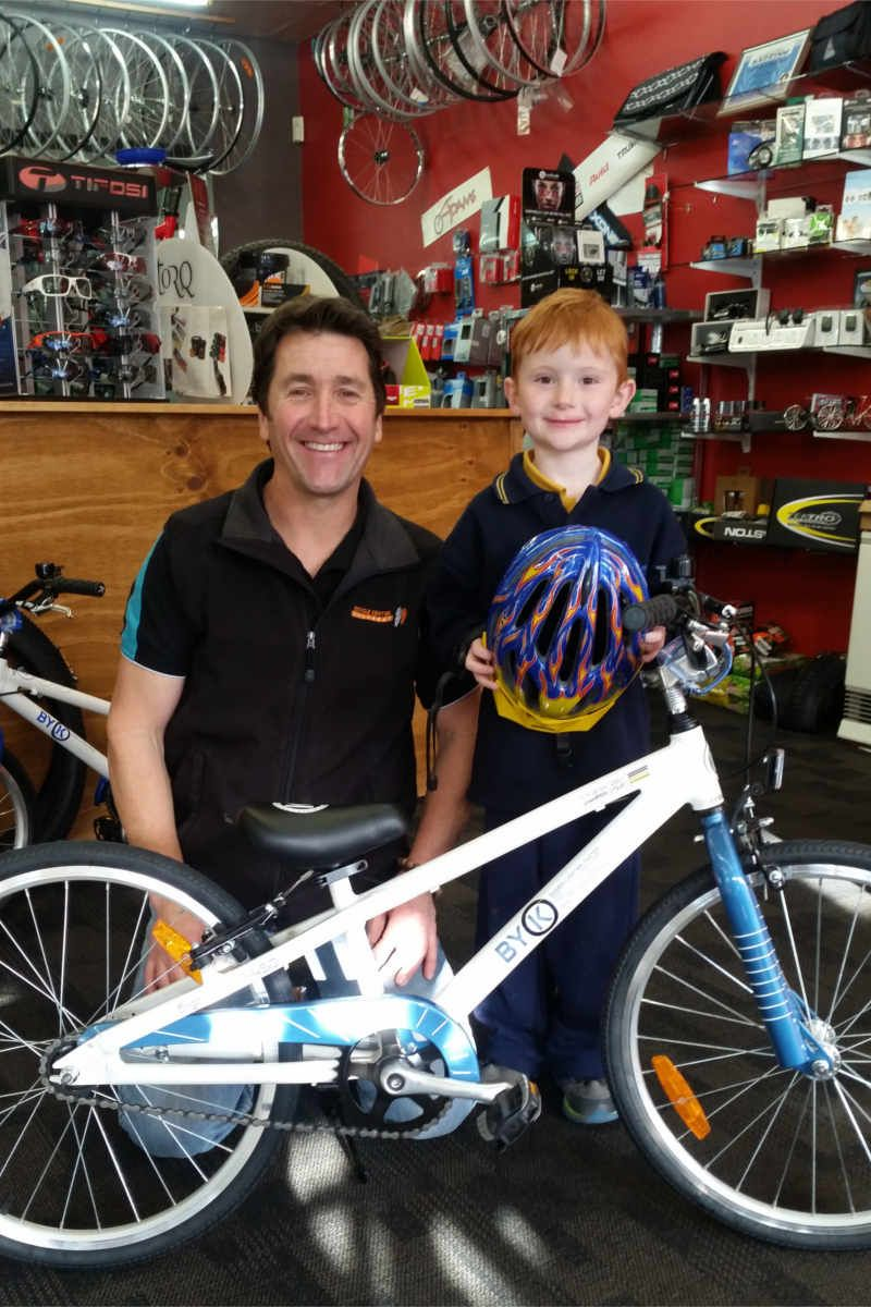 A very happy 7 year old Charlie who got a brand new ByK kids bike for his birthday - getting him ready to ride in the Great Cycle Challenge to raise money for childrens cancer research. This photo taken at the Bicycle Centre Ballarat.