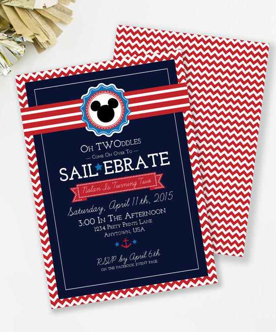 Sailebrate Birthday Nautical Invitation Mickey Inspired Oh Twoodles Invite Party Printable
