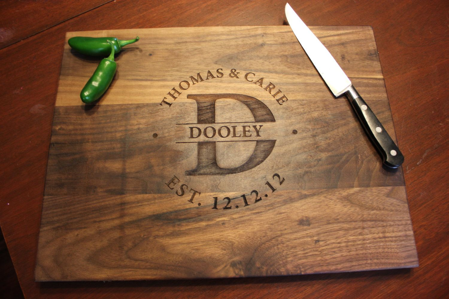 Personalized Engraved Wood Cutting Board - Circle Monogram, Names and Date-  Walnut Wood -