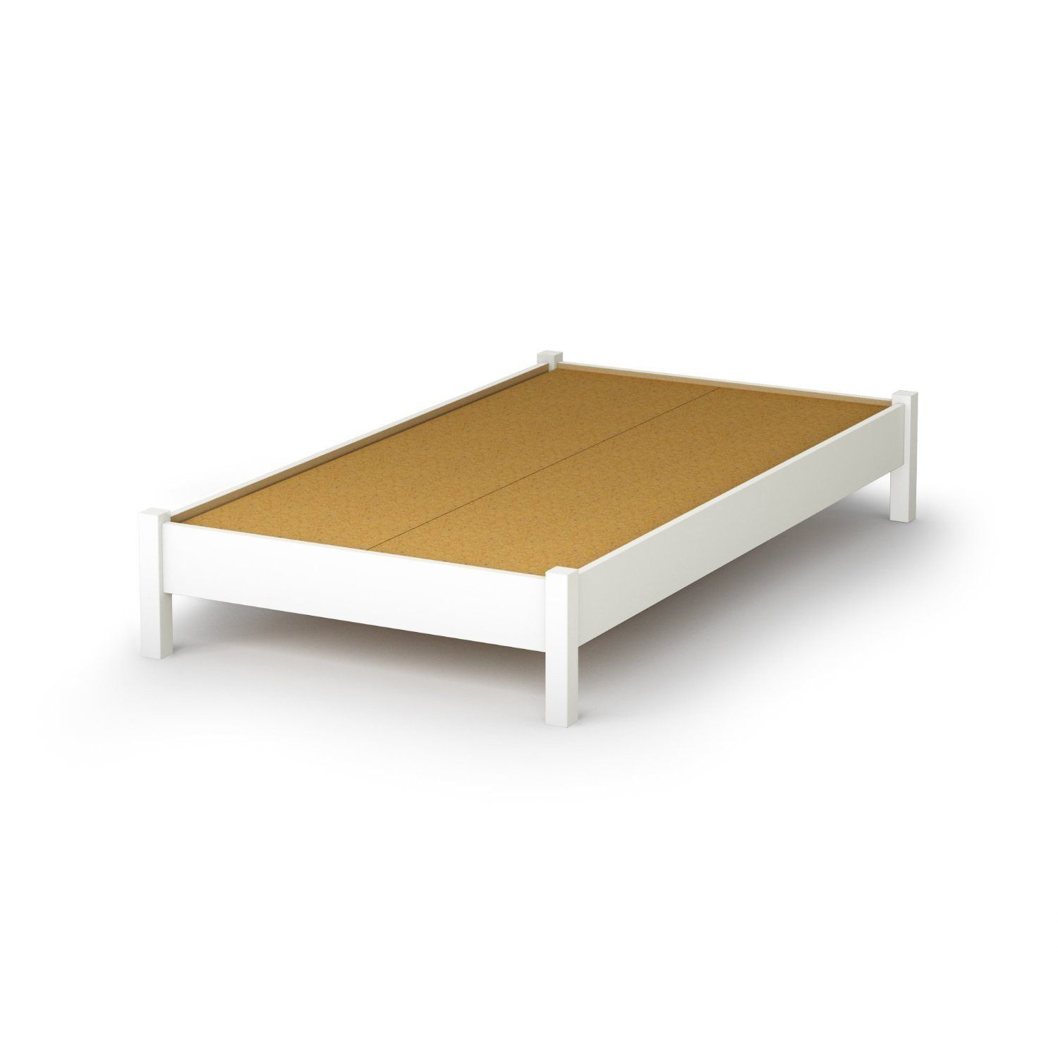 twin size simple platform bed frame in white wood finish platform