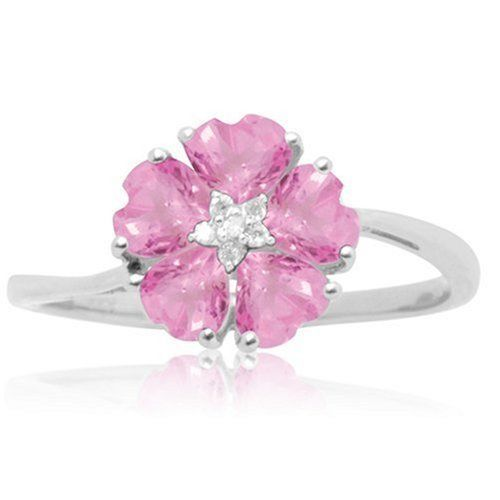 10k White Gold Created Pink Sapphire And Diamond Accent Flower Ring Amazon Curated Collection Http Www Amazo Pink Sapphire Jewelry Pink Diamond Pink Jewelry