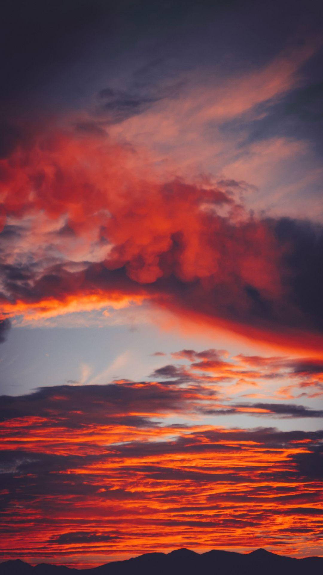 Colorful Clouds Orange Sunset 1080x1920 Wallpaper Sky And Clouds Clouds Sky Hd wallpaper sky clouds sunset dusk