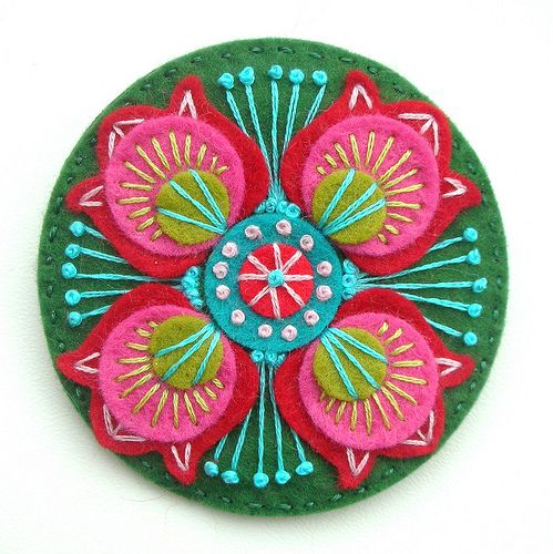 Marrakesh Felt Brooch With Embroidery Marrakesh Embroidery And