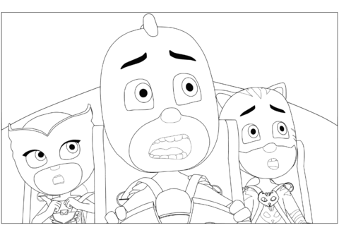 Owlette Gekko And Catboy Malarbok Pj Masks Coloring Pages Free