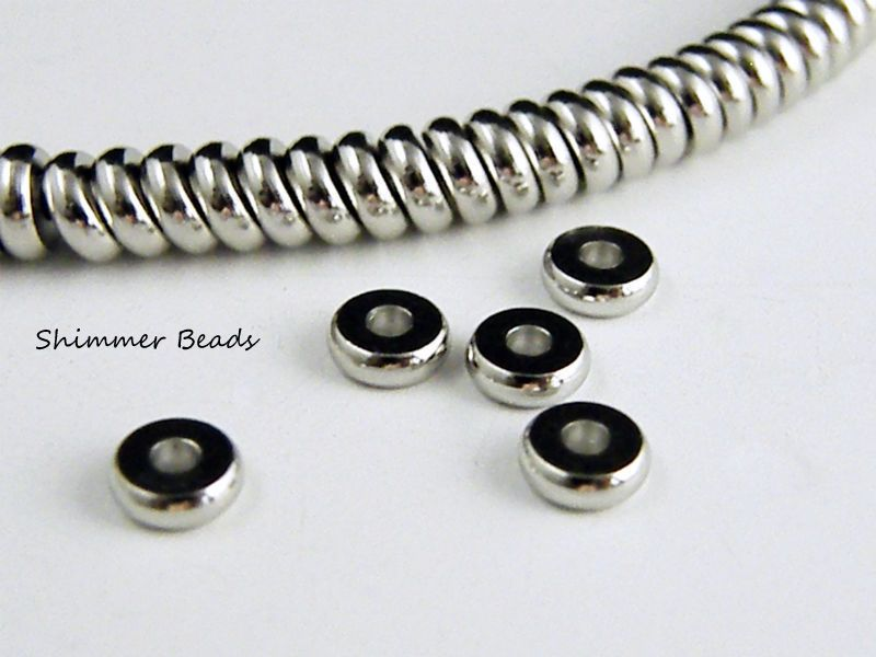 Brass Silver Plated Platinum-Rondelle Flat- Spacer Beads 6.2mm Hole 1.5mm (50) #Unbranded #Boheiman