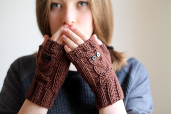BACK TO SCHOOL... Owl gloves brown owl gloves by beyazdukkan, $23.40