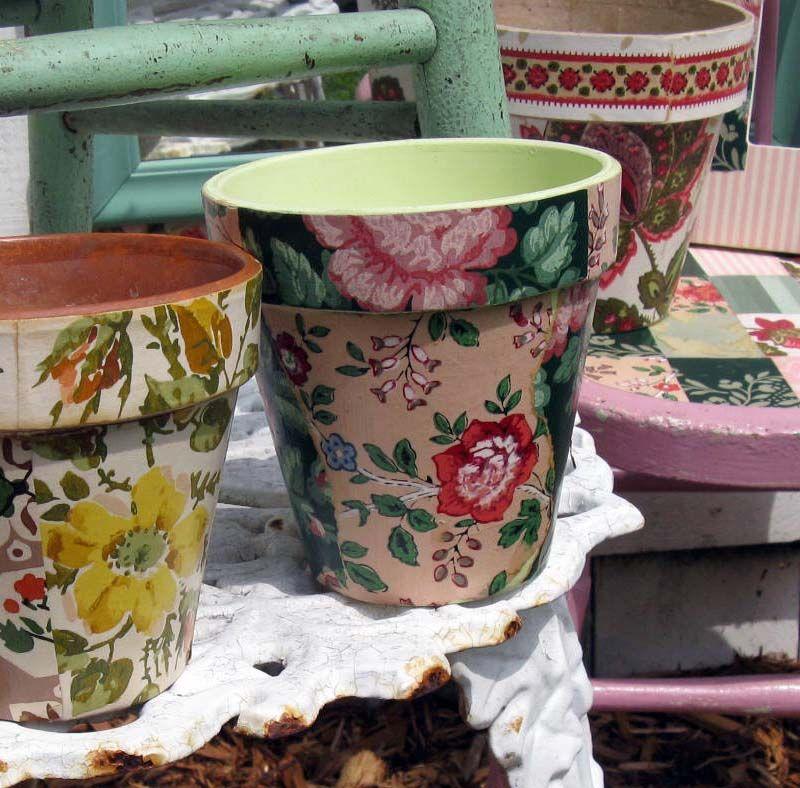 Wooden Vase Mug Coup Pen Pencil Flowers decoupage craft no painted round box