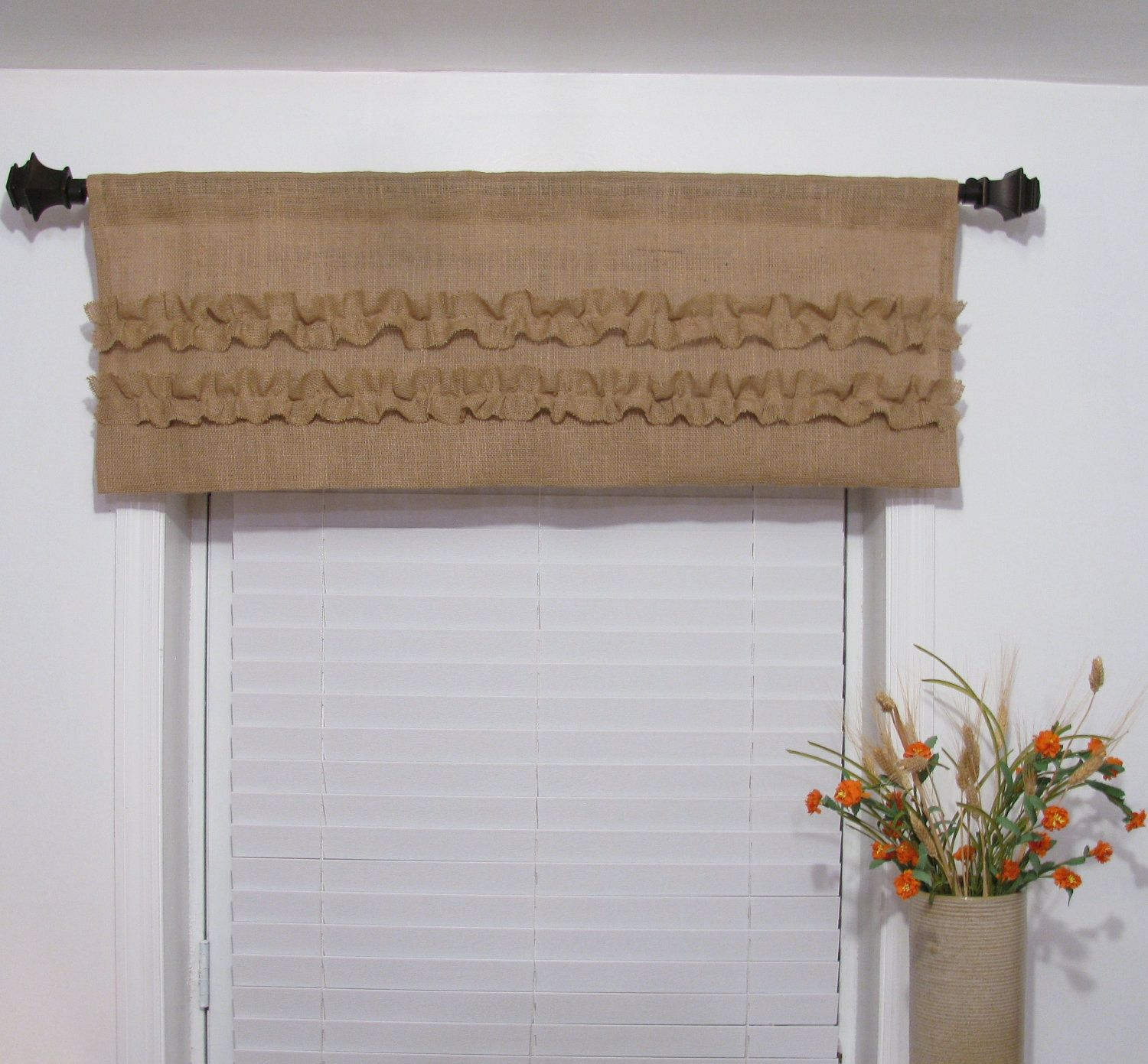 Rustic kitchen window treatments  natural burlap window valance ruffled rustic curtain custom sizing