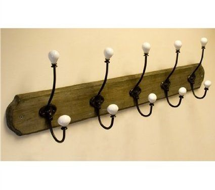 5 Hat and Coat Hooks Rail Wall Mounted Rustic Country