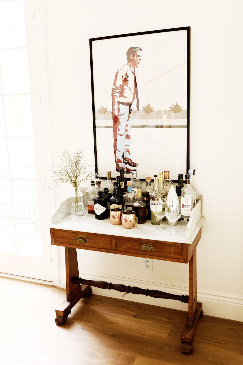 Use Vintage Table As Bar Cart Creative Bar Carts