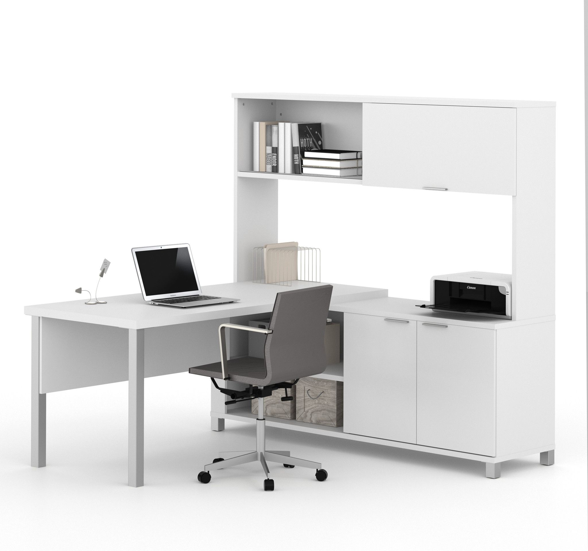 Premium Espresso U shaped Executive Desk with Hutch & Mobile File fice desks Pinterest