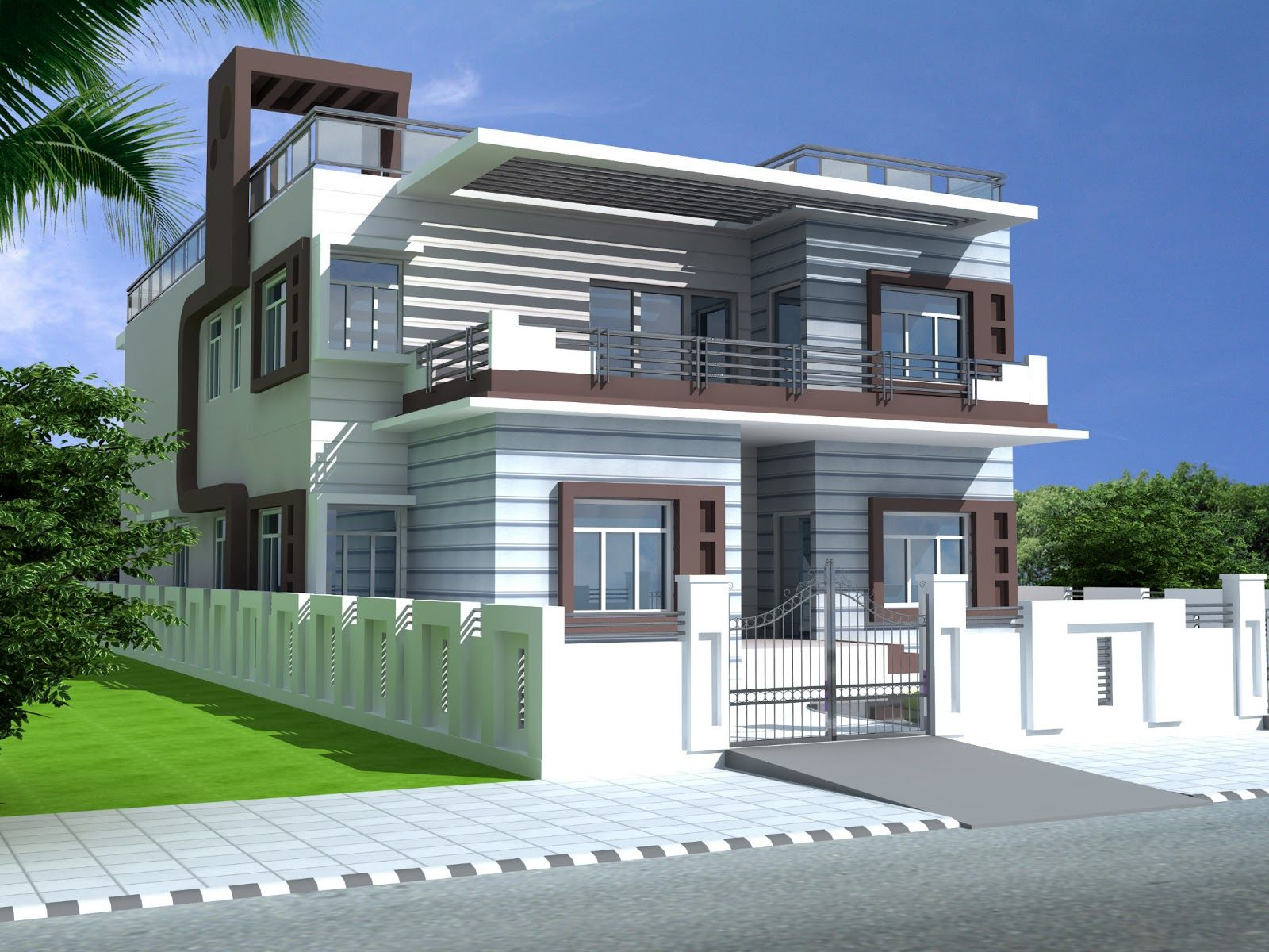 6 bedrooms duplex house design in 390m2 13m x 30m for Front elevations of duplex houses