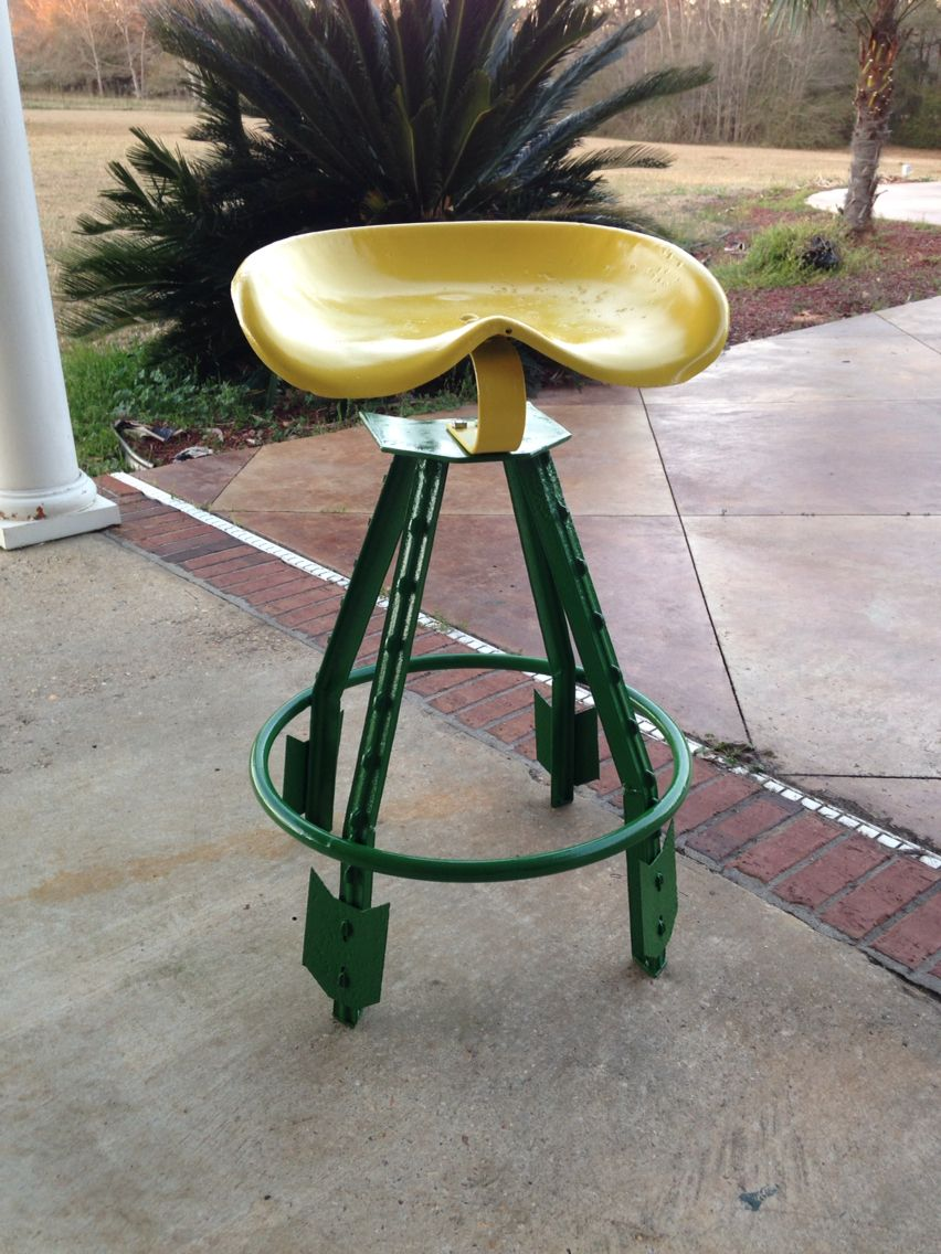 Tractor seat stool arts crafts repurpose upcycle for Tractor art projects