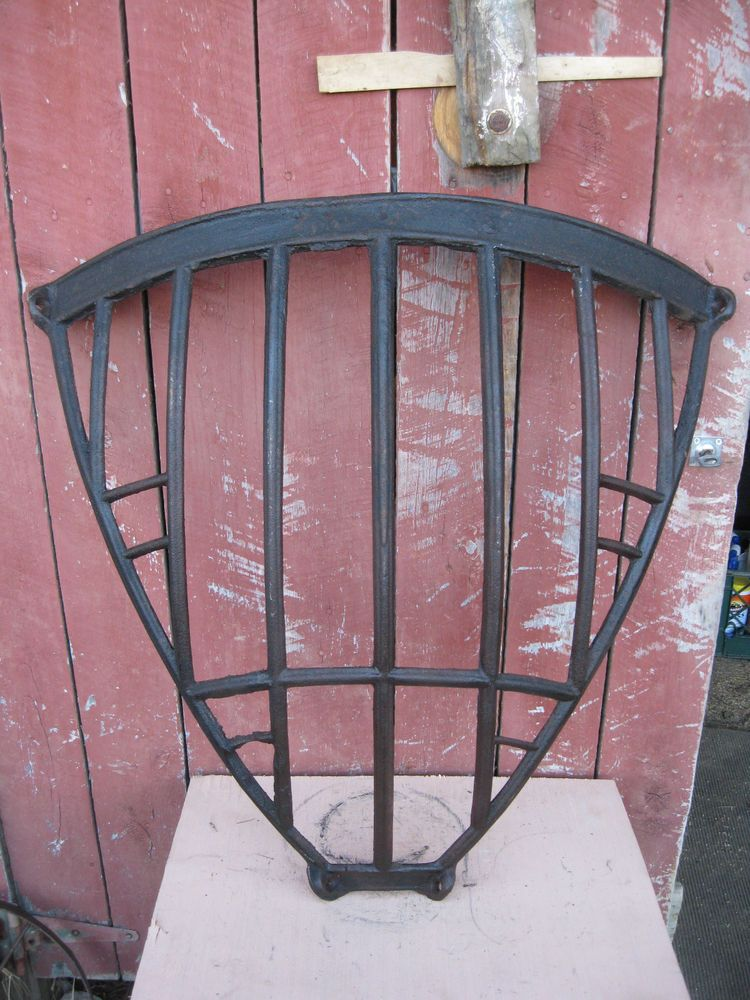 Antique Black Iron Band Wall Basket Primitive Country Farmhouse
