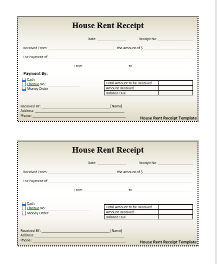 HouseRentReceiptTemplate  Wordstemplates    Receipt