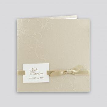"""Faire-part de mariage """" Marée beige pour volutes élégantes"""" et ruban beige doré, Regalb J216"""