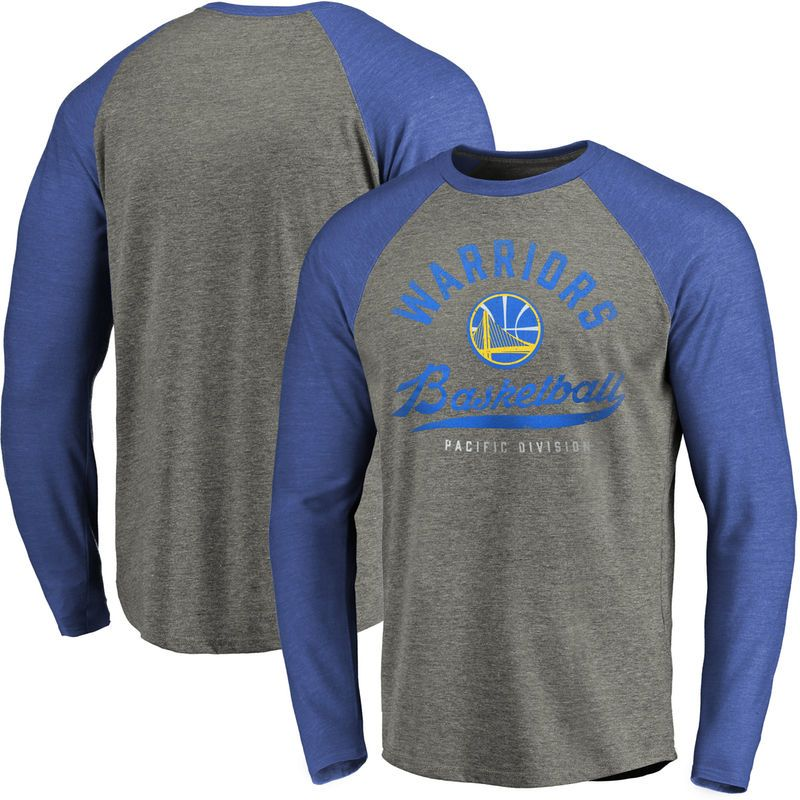 Golden State Warriors Fanatics Branded Emblem Raglan Sleeve Tri-Blend  T-Shirt - Heathered Gray 82a1f91ef48