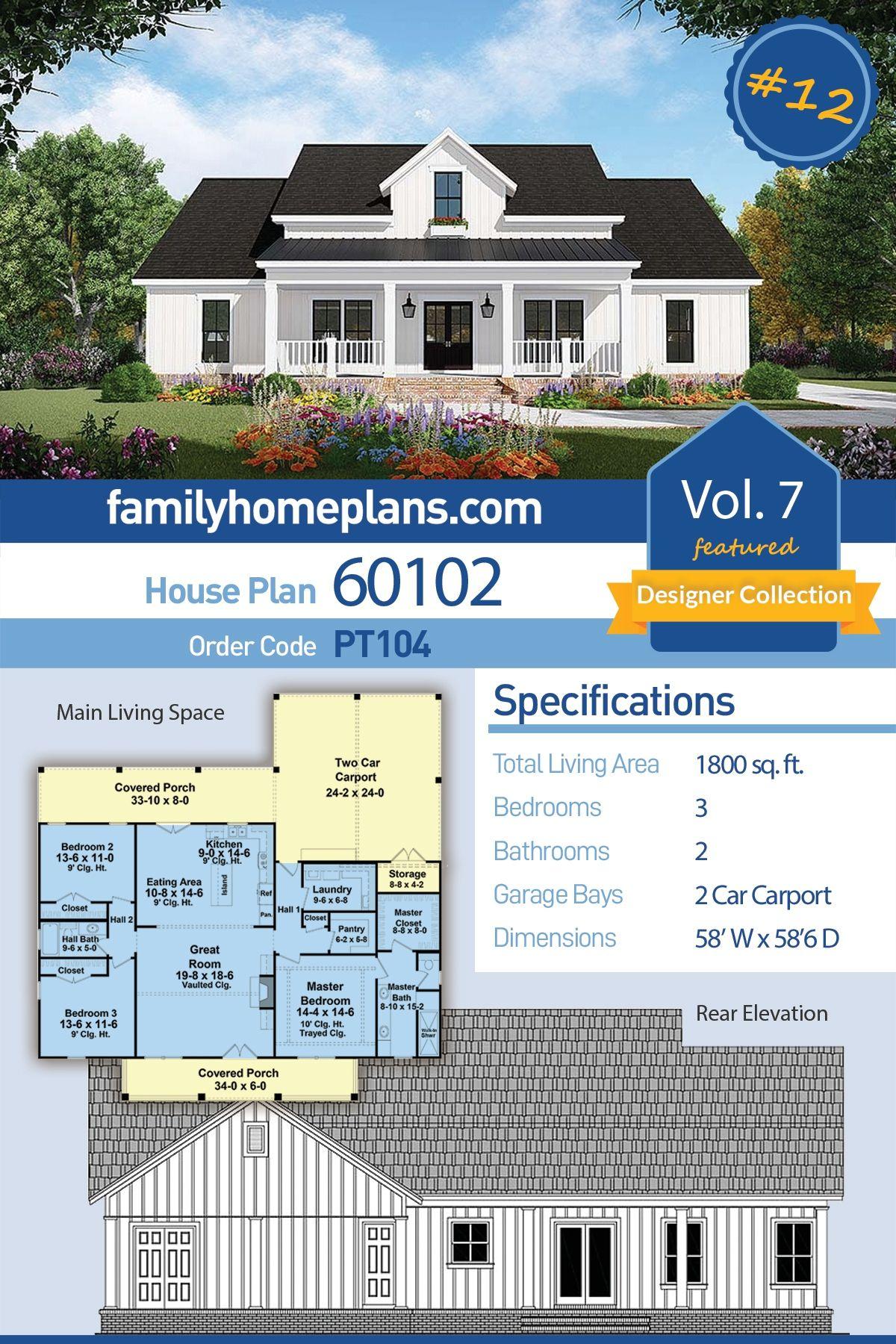 House Plan 60102 Country, Farmhouse, Southern House Plan