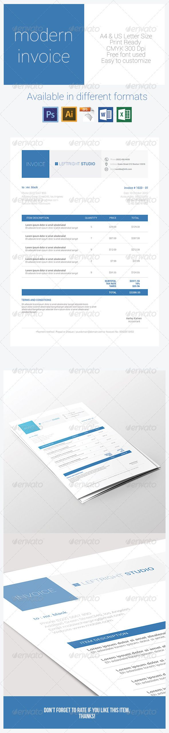 Modern Invoice  Modern Fonts And Business Proposal
